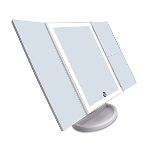 CZW Makeup Vanity Mirror with 3x/2x Magnification,Trifold Mirror with 36 Led Lights,Touch Screen, 180 Degree Adjustable Rotation,Dual Power Supply, Countertop Cosmetic Mirror (White)