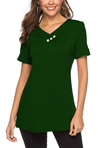 Patricks Day Green St Color - Aokosor Womens Tops Blouses Flowy Comfy T Shirts Short Sleeve V Neck Summer Tees Green Plus Size