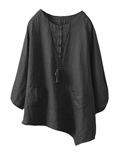 Minibee Women's Linen Tunic Blouse Elbow Sleeve Asymetrical Shirt Top with Pockets Dark Black L ()