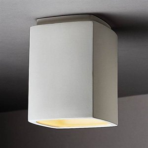 Justice Design CER-6110-HMPW Flush-mount Rectangle, Choose Finish: Hammered Pewter Finish (Textured Faux), Choose Lamping Option: Standard ()