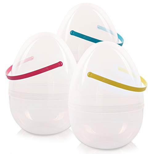 KI Store Giant Easter Egg 10-Inch Plastic Fillable Jumbo Eggs Set of 3 Clear Easter Egg Hunt Basket for Easter Egg Hunting Supprise Egg -