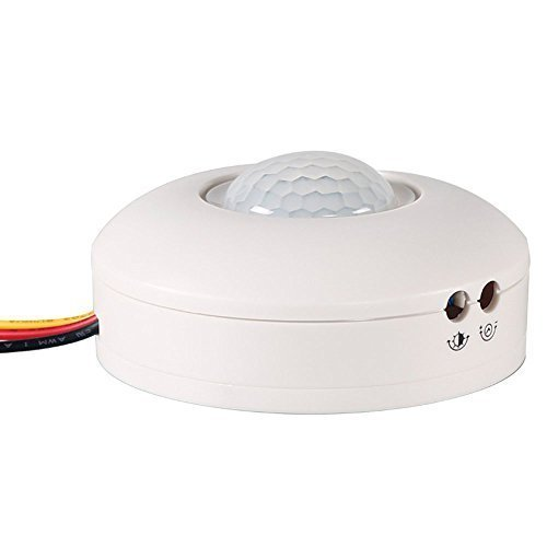 COOLWEST AC 110V-130V Max 200W Outdoor/Indoor Security PIR Human Body Motion Sensor Detector Inductor Switch for Lamp Lighting (Ceiling Motion Detector)