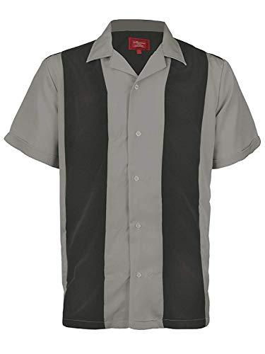 Ginoken Men's Two Tone Panel Retro 50s Bowling Casual Dress Short Sleeve Shirt Dark Grey/Light -