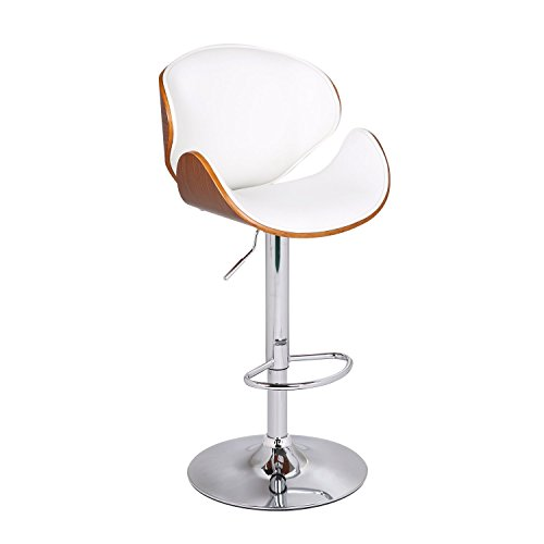 Adeco 2016 New Bentwood Adjustable Height bar Stool Barstool with Curved Black Vinyl Seat Back, Color-Walnut White, Walnut White