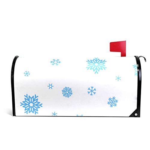 Bruyu5se Mailbox Covers Magnetic Blue Snowflake Standard 21 x 18 Inches Waterproof Canvas Mailbox Cover