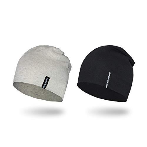 Empirelion Slouch Beanies Knit Hat Thin Running Lightweight Skull Cap for Men Women (Black+Cream Melange)