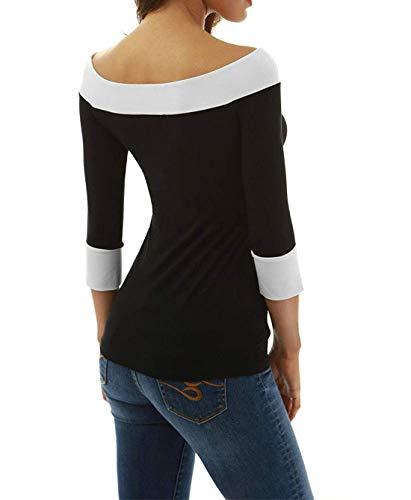 Slim Automne T Bateau JackenLOVE Col Pulls Femmes Patchwork Noir Fashion 4 3 et Shirts Jumpers Blouse Printemps Manches Hauts Tees Top wqq7nS0pE