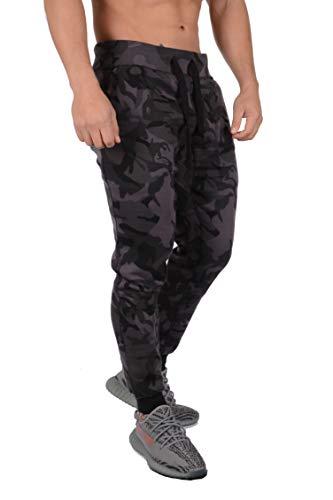 YoungLA Mens Slim Fit Joggers Fitness Activewear Sports Fleece Sweatpants for Gym Training (Camo Black, Medium) by YoungLA (Image #2)