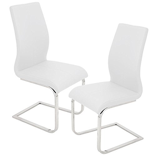 Best Master Furniture Mirage Faux Leather Parson Dining Chair, Set of 2, White (Chairs Modern White Dining Room)