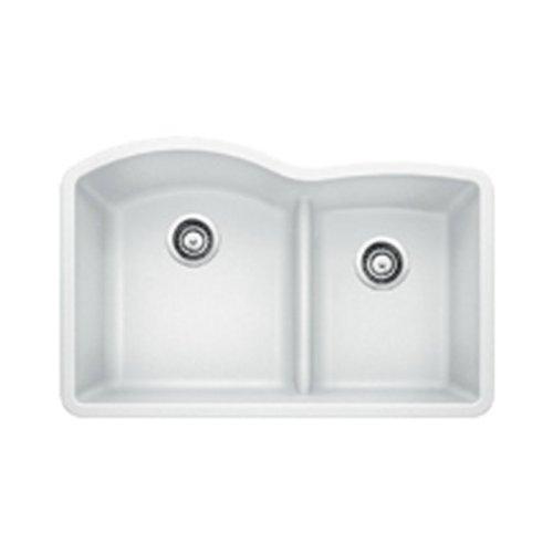 d 1.75 Low Divide Under Mount Double Bowl Kitchen Sink, Large, White ()