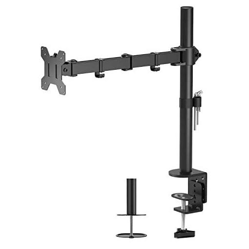 BONTEC Single Arm Desk Mount Ergonomic LCD LED Computer Monitor Bracket Stand Tilt Swivel Rotation 13″-32″ Screen TV | VESA Dimensions: 75×75-100×100