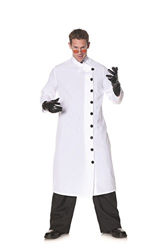 Underwraps Men's Doctor Mad Scientist White Lab Coat Adult Outfit Fancy Costume, OS (42-46)