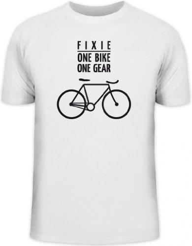 Shirtstreet24, Fixie - One Bike, Singlespeed Fahrrad Rennrad Herren T-Shirt Fun Shirt Funshirt, Größe: M,weiß