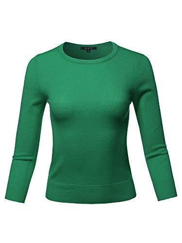 3/4 Pullover Sleeve (Basic Casual Colorful 3/4 Sleeve Knit Pullover Sweator Top Kelly Green S)