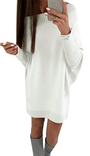 Cruiize Casual Robe Pull En Tricot À Manches Chauve-souris Printemps Féminin Blanc