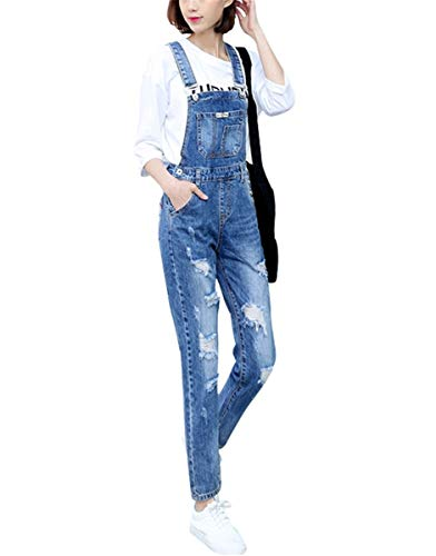 9c9a0e4e545 Women s Classic Bib Overalls Denim Blue Strap Ripped Hole Denim Jeans (XL