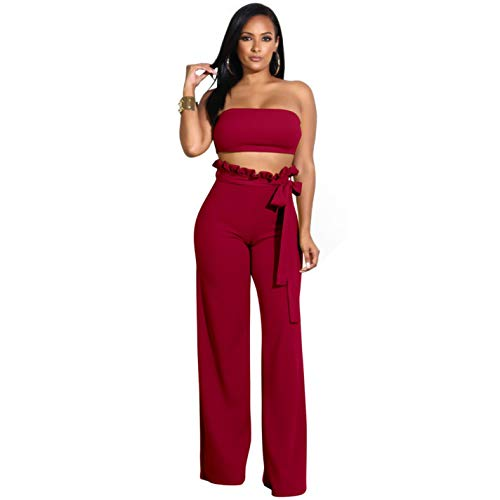 Sexy Jumpsuit Rompers Crop Wine Strapless Womens Red Summer qfqa8