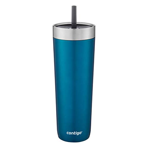 (Contigo Luxe Stainless Steel Tumbler with Spill-Proof Lid and Straw | Insulated Travel Tumbler with No-Spill Straw, 24 oz, Biscay Bay)