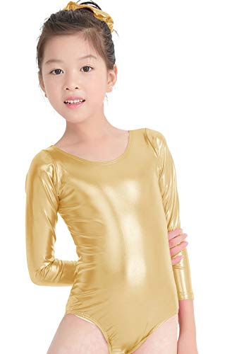 4edb1688f Amazon.com  speerise Kids Girls Long Sleeve Shiny Metallic Spandex ...