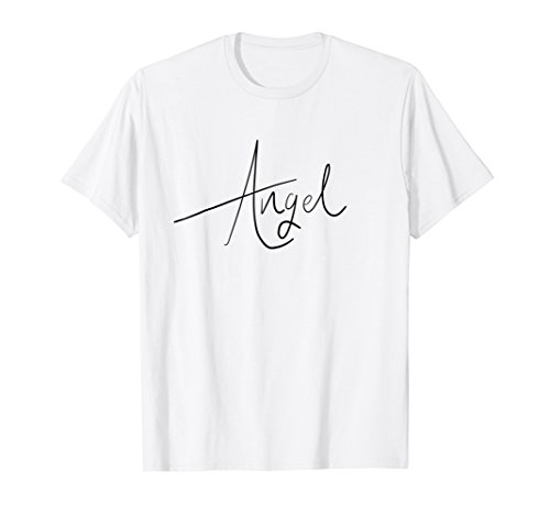 Angel Shirt Handwriting Script Style Halloween Gift -