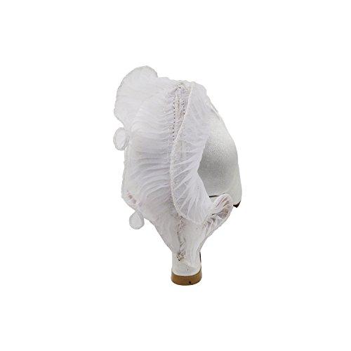 Scarpe Piccione Oro Partito Scarpe Da Sposa Partito, Scarpe Da Sera Comfort Pompe: Scarpe Da Ballo Tacco Donna 5518- Raso Bianco