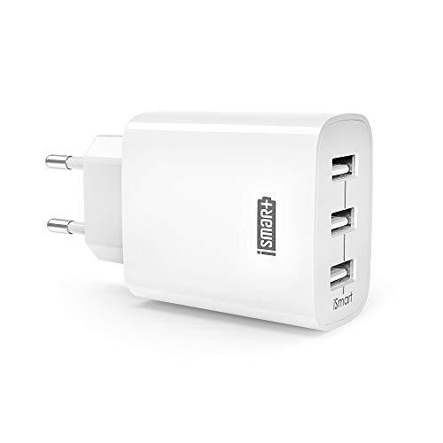 Ravpower USB Ladegerät  3-Port 30W 6A Ladeadapter mit iSmart Technologie für...
