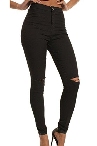 Las Mujer ELasstica De Cintura Alta Pantalones Skinny Jeans Rasgado Hoyos Black