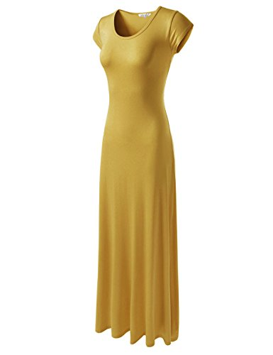 NEARKIN (NKWLD04271 Attractive Women Casual Unbane Figure Hugging Maxi Dress Mustard US XS(Tag Size -