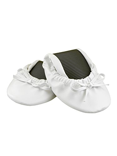 Solemates Purse Pal Foldable Bowed Ballet Flats w/Expandable Tote Bag Carrying Heels (Medium (7-8.5), White) by Solemates (Image #3)