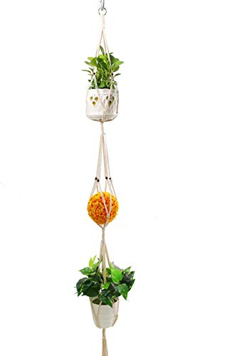 About 70 Beads - 3 Tier Plant Hanger with Classic Macrame Beads Cotton Rope 4 Legs for Hanging Holder Flower Baskets Pot Indoor or Outdoor by Juzi - 70 inch