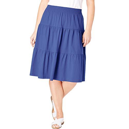 Woman Within Women's Plus Size Jersey Knit Tiered Skirt - Tulip Purple, ()