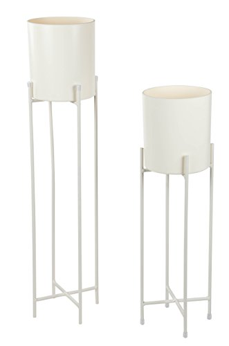 Plant Stand Set - 2-Piece Modern Plastic Planter with Tall Metal Stand - Decorative Standing Flower Succulent Pot Holder, Indoor Outdoor Terrace Patio Home Decor- White, 29.3 and 23 inches Tall by Juvale