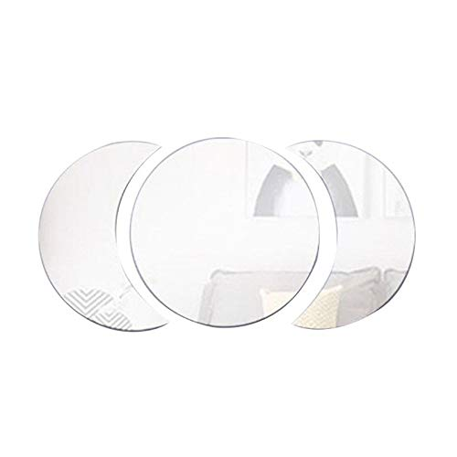 Agordo 3D Round Sticker DIY Mirror Wall Stickers Art Decal for Home Office Decor (Silve