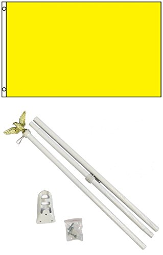 3x5 Solid Canary Yellow Color Business Flag w/ 6' Outdoor Po
