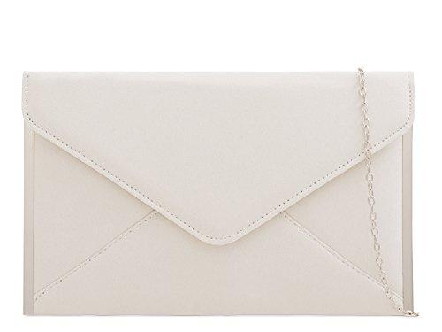 K50292 Bag Clutch Envelope Women's Ladies Ivory Suede Purse Party Evening Handbag xp1tqzqwE