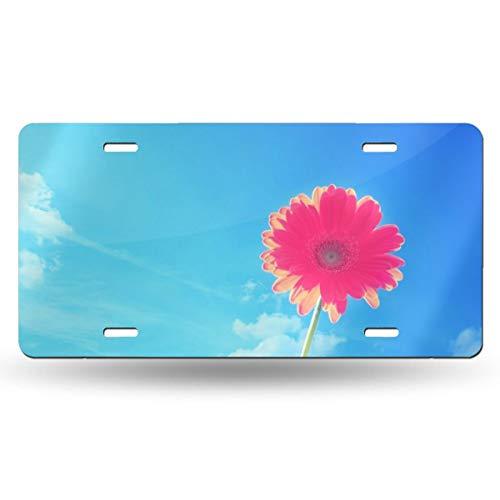 Pink Gerbera Flower Novelty Design Metal License Plate Tag Sign 6