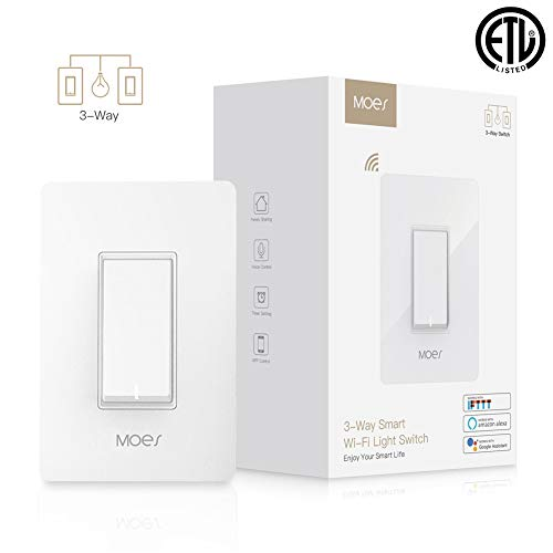 (MOES 3-Way WiFi Smart Switch for Light Fan,Compatible with Alexa and Google Home,No Hub Required,Smart Life APP Provides Control from Anywhere)