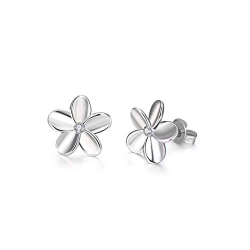(KUUCOL 1Pair 925 Sterling Silver Plum Flower Crystal Ear Stud Earrings Women Girl Gift (Silver))