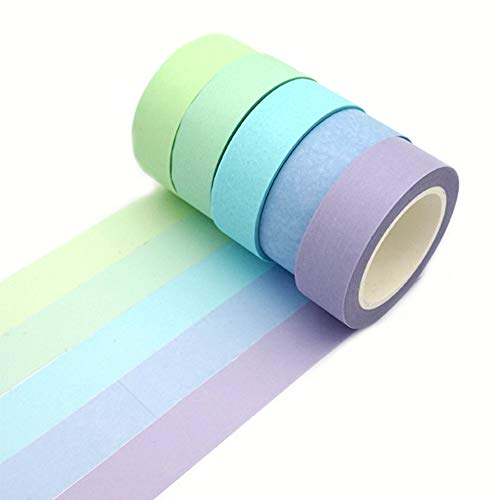 ERCENTURY Washi Masking Tape Set, Assorted 5 Rolls, Decorative Writable Tape, for Fun DIY Art Supplies, Scrapbooking Crafts Wrapping (Blue-Toned)