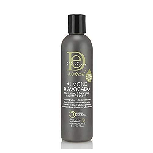 Design Essentials Natural Super Moisturizing & Detangling Sulfate- Free Shampoo- Almond & Avocado Collection, 8 Fl Oz