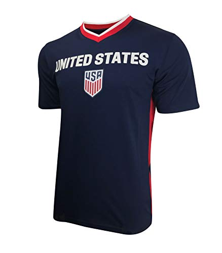 3184e1d01 USA Soccer Jersey T-Shirt Mens National Soccer Team Official Licensed |  Great for Players, Trainers, Coaches| Red White and Blue | Training  Performance ...
