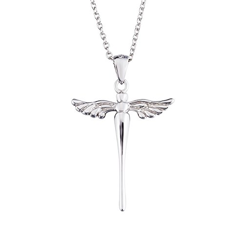 925 Sterling Silver Cross with Angel Wing Charm Pendant Rolo Chain Necklace, 18