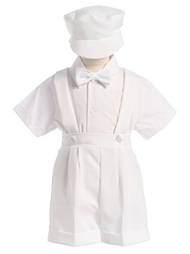 White Christening Baptism Suspenders and Short Set with Hat - size M (6-12 Month) ()