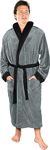 (NY Threads Luxurious Men's Shawl Collar Fleece Bathrobe Spa Robe (Large/X-Large, Steel Grey with Black)