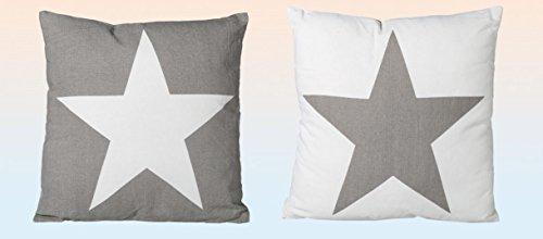 Kissen Sofakissen Grau und Weiß mit Stern Motiv 40 x 40 cm 2 Stück Set
