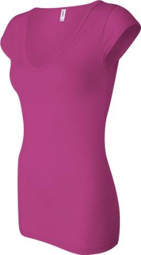 Bella hilado y traje de neopreno para mujer algodón/spandex V-cuello para escribir encima con bordes de profundidad con casquillo de bayoneta con cierre de solapa y T-camiseta de manga corta. Rojo