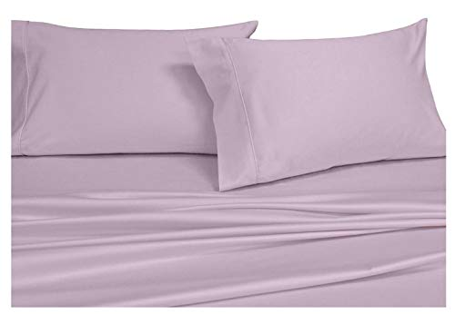 - Split-King: Adjustable King Bed sheets, Solid Lilac 600-Thread-Count 5pc Bed Sheet Set 100-Percent Cotton, Sateen Solid, Deep Pocket