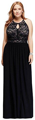 - Lace Keyhole Halter Neckline Dress Style 21348DW, Black, 20W
