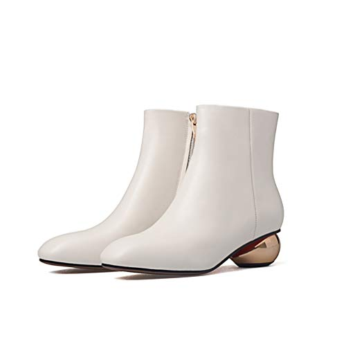 White Fur Women's Unusual Thick Heels Ankle Boots Square Toe Zip Footwear Cow Leather Female Boot New shoes