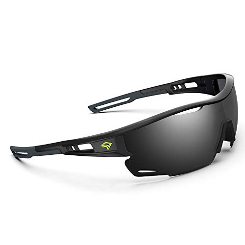 TOREGE Polarized Sports Sunglasses for Men Women - UV Protection Cycling Sunglasses for Running Fishing Cycling Driving Baseball Golf Glasses TR90 Frame TR21 Sniper